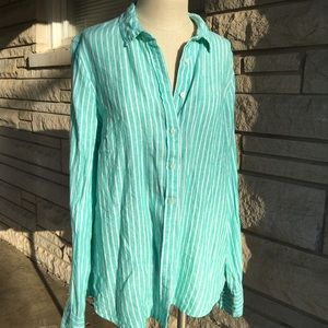 j. crew seagreen stripe irish linen shirt